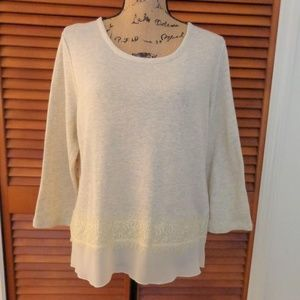 Eyeshadow Tops - Eyeshadow Cream Chiffon/Lace Top sz XL
